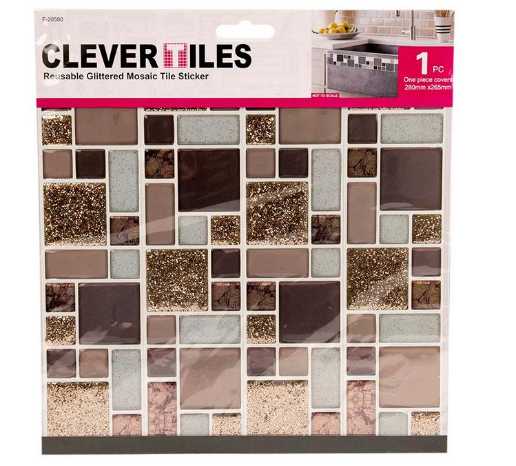 Gold Glitter Self adhesive Mosaic Tile Stickers Kitchen Bathroom